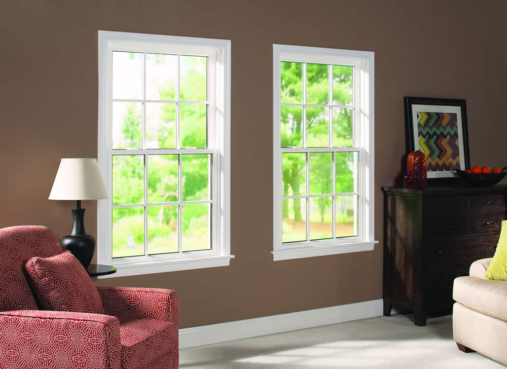 White Double Hung Windows with Grids