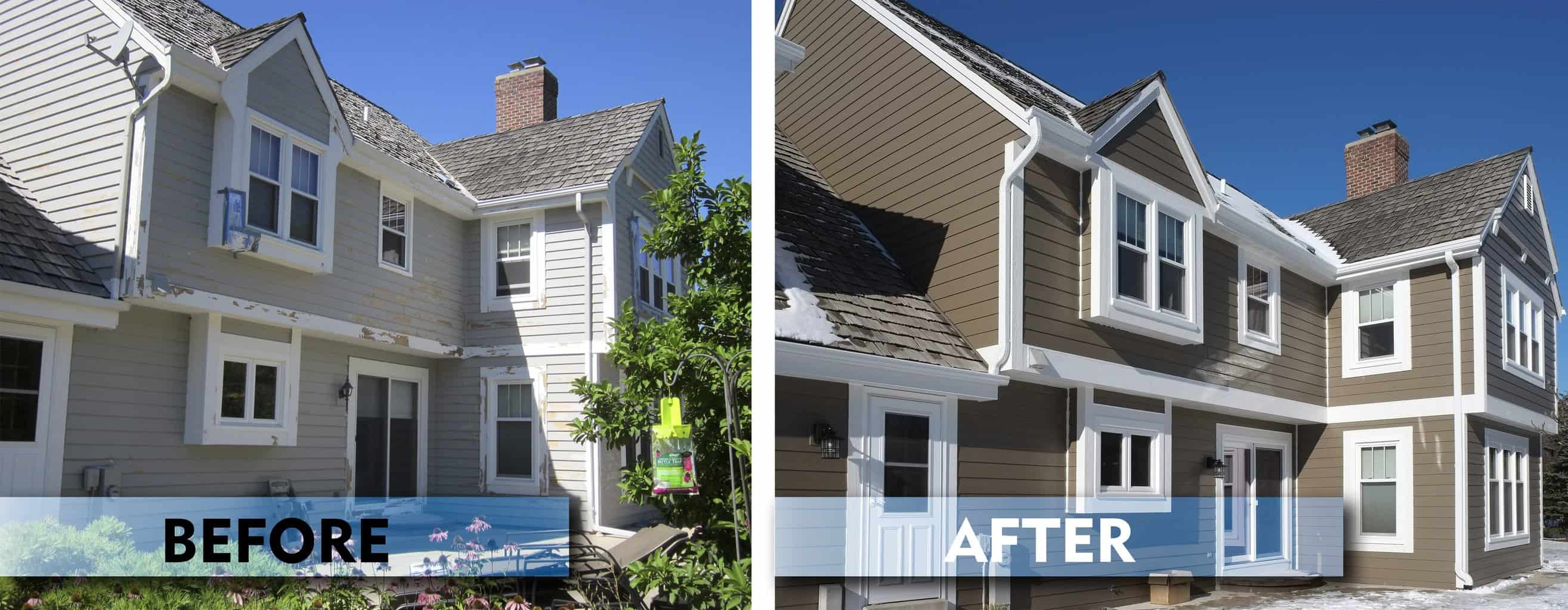 Two photos side by side, left photo is a house with worn, weathered siding. The photo on the right, is the same home after full house installation of Diamond Kote® siding.