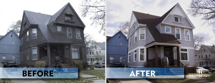Vinyl Siding Before & After Front Photo