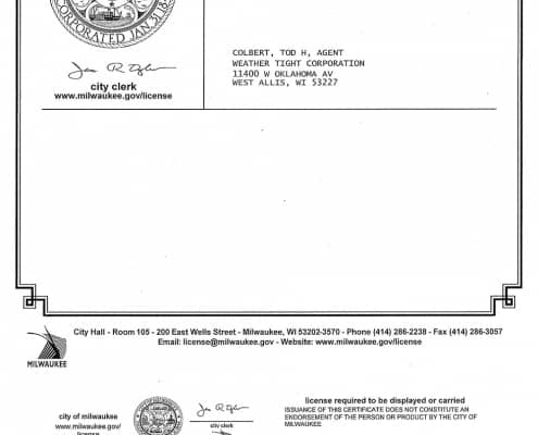 City of Milwaukee Home Improvement Contractor's License Exp 05-16-2021