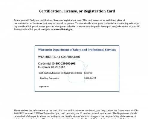 Dwelling Contractor Certification ID 267342 Exp 06-20-20