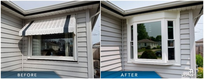 Bay window before & after